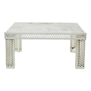 Mathieu Matégot Style Perforated White Metal Coffee Table For Sale