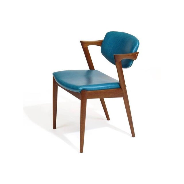 1960s Six Kai Kristiansen Teak Danish Dining Chairs in Turquoise Leather, 20 Available For Sale - Image 5 of 11