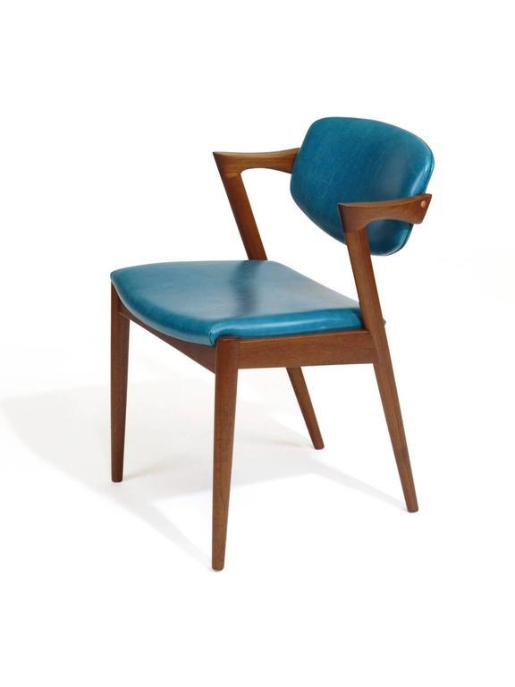 Etonnant 1960s Six Kai Kristiansen Teak Danish Dining Chairs In Turquoise Leather,  20 Available For Sale