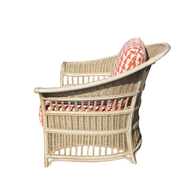 American 1980s Stately Vintage Usa Made Wicker Chairs by Pennsylvania House - a Pair For Sale - Image 3 of 7