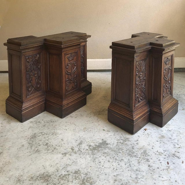 Pair of 19th Century French Architectural Hand Carved Column Pediments are very rare to find as pair. Carefully salvaged...