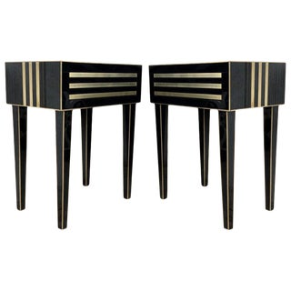 New Pair of High Black and Brass Nightstands With Drawer, Push System Opening For Sale