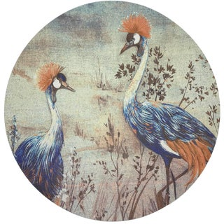 "Nicolette Mayer Crested Crane Burnt 16"" Round Pebble Placemats, Set of 4 For Sale"