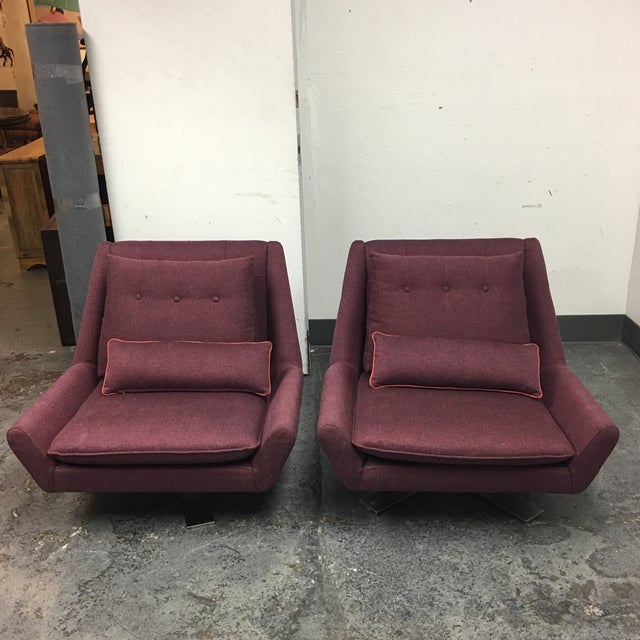 Red Vioski Palm II Swivel Chairs - A Pair For Sale - Image 8 of 8