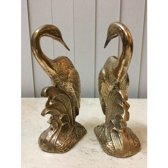 Late 20th Century Vintage Brass Crane Bookends-a Pair For Sale - Image 5 of 7
