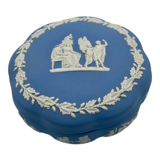 Vintage Wedgwood Traditional White on Blue Jasperware Trinket Box For Sale