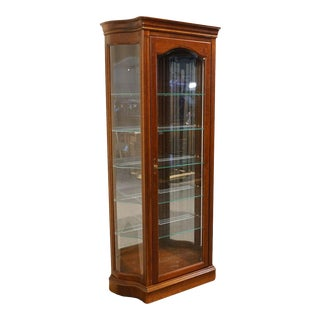 "20th Century Traditional Jasper Cabinet Solid Colonial Cherry 37"" Curio Display Cabinet For Sale"