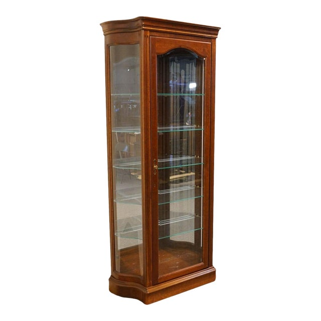 "Image of 20th Century Traditional Jasper Cabinet Solid Colonial Cherry 37"" Curio Display Cabinet"