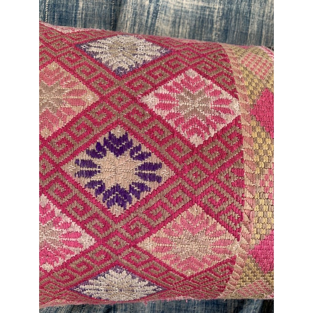 Pink Antique Tribal Double Happiness Wedding Quilt Pillow For Sale - Image 8 of 10