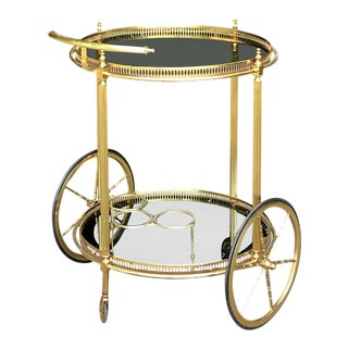 Mid Century Round Brass & Glass Liquor Cart For Sale