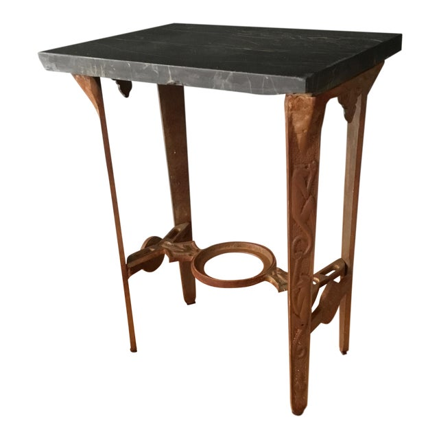 Early 20th Century Art Deco Marble and Iron Side Table For Sale