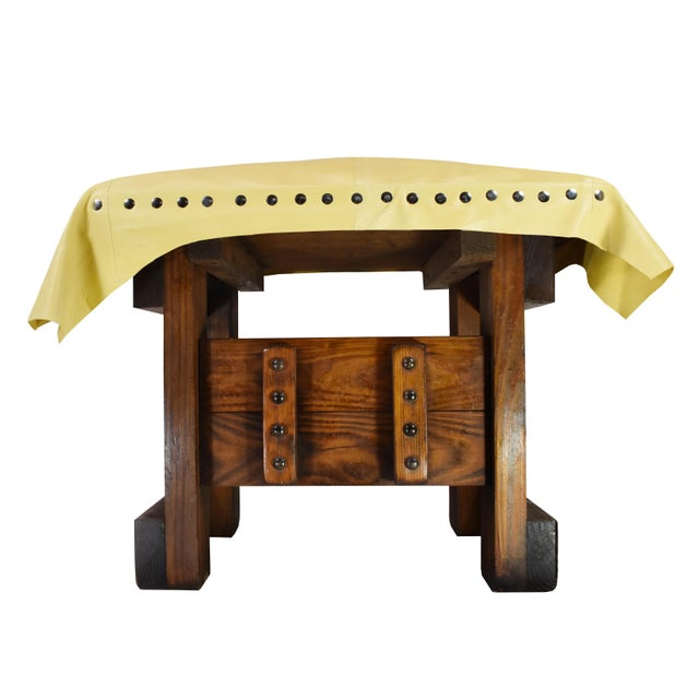 Handmade Wood Leather Footrest Stool Ottoman For Sale - Image 4 of 11