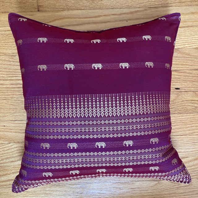 Magenta Thai Silk Pillow With Elephant Motifs For Sale - Image 10 of 12