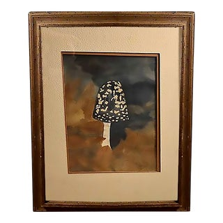 Original Vintage Art of Botanical Abstract Mushroom Framed Watercolor Painting For Sale