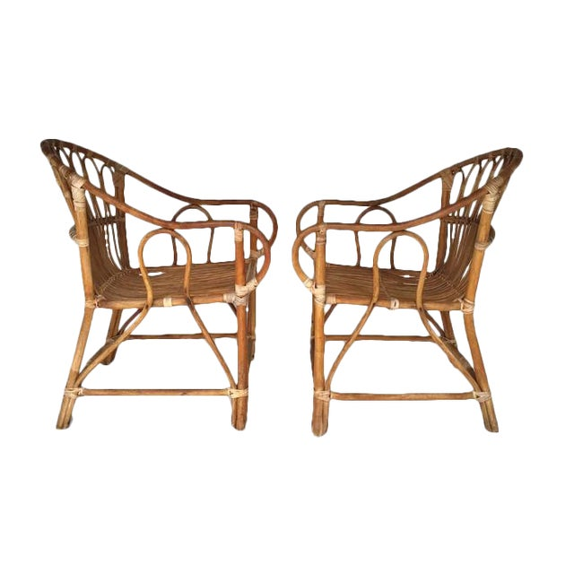 Mid-Century Bamboo Chairs Franco Albini Style Arm Chairs - a Pair - Image 1 of 6