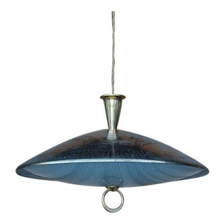 Mid Century Chic Brass & Textured Glass Pendant Light For Sale
