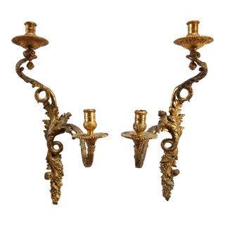 French Louis XV-Style Gilt Bronze Candle Sconces- A Pair For Sale
