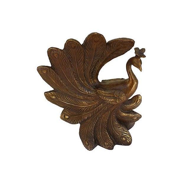 Mid-Century Brass Peacock Statue - Image 3 of 7