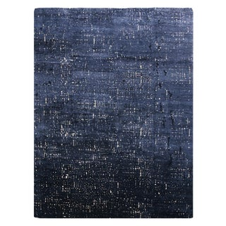 """Custom Grisaille """"City Lights"""" Midnight Blue and Black Matka Silk Rug - 10′ × 14′ For Sale"""