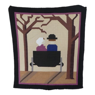 Modernist Amish Child's Quilt of Couple in a Buggy For Sale