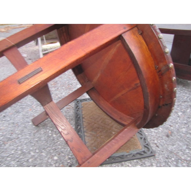 This is an antique L&jG Stickley round leather top table from the early 1900's. This table is in very good condition and...