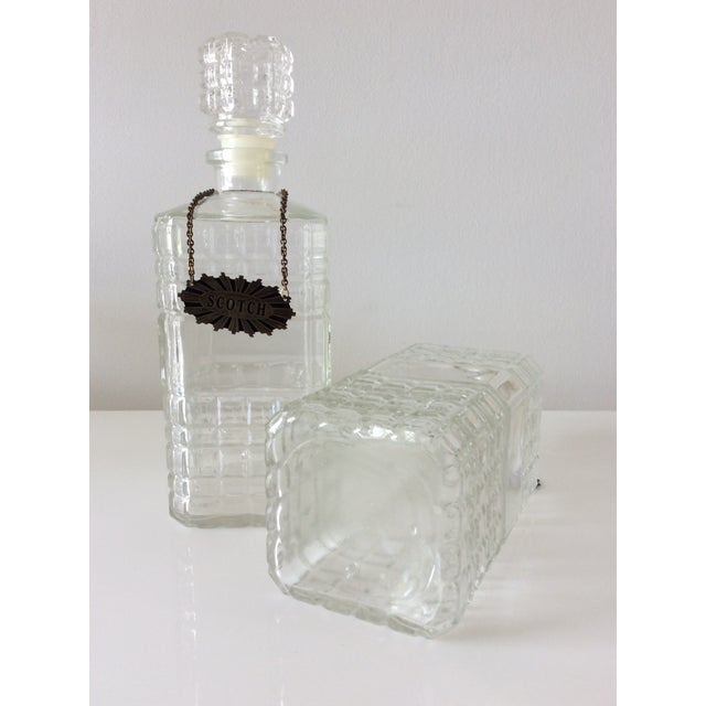Metal Vintage 3 Glass Decanters With Chrome Tantalus For Sale - Image 7 of 9
