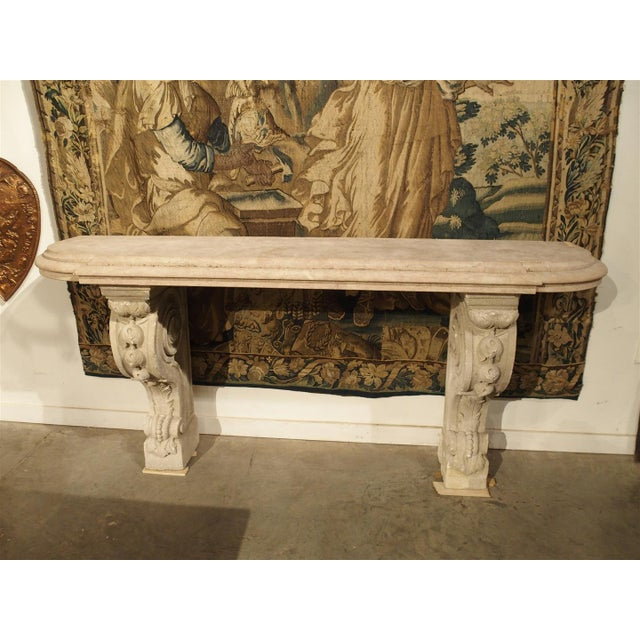 Antique Marble Top Console Table from South-East France For Sale In Dallas - Image 6 of 10