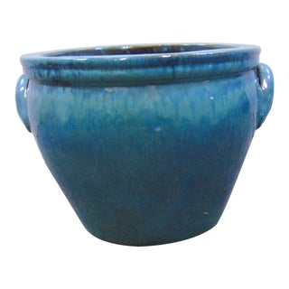 Arts & Crafts Style Blue Green Dippy Glazer Planter For Sale
