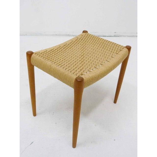 Jl Moller Danish Modern Rush & Teak Bench - Image 3 of 4