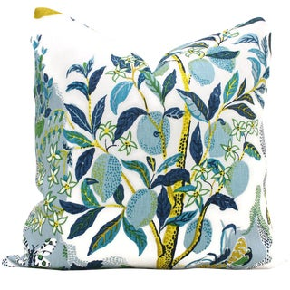 "20"" x 20"" Citrus Garden With Lime Tree Decorative Pillow Cover For Sale"