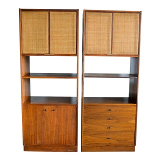 Jack Cartwright for Founders Furniture Walnut and Cane Cabinets, Circa 1960 For Sale