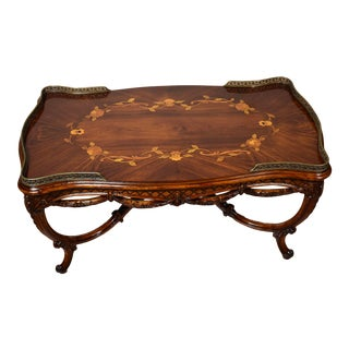 1910s Antique French Louis XV Carved Walnut & Satinwood Inlay Coffee Table For Sale