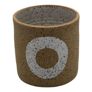 Handmade Wheel Thrown Speckled Planter With White Ring Design