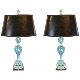 Midcentury Murano Style Glass and Brass Lamps in Turquoise
