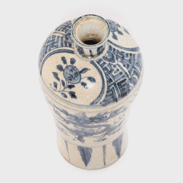 Early 21st Century Chinese Crackled Blue and White Vase For Sale - Image 5 of 7