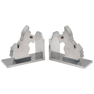 Art Deco Aluminum Cubist Scottie Dog Figural Bookends - a Pair For Sale