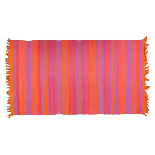 "Orange & Pink Woven Rug- 3'4"" X 6' - Image 1 of 7"