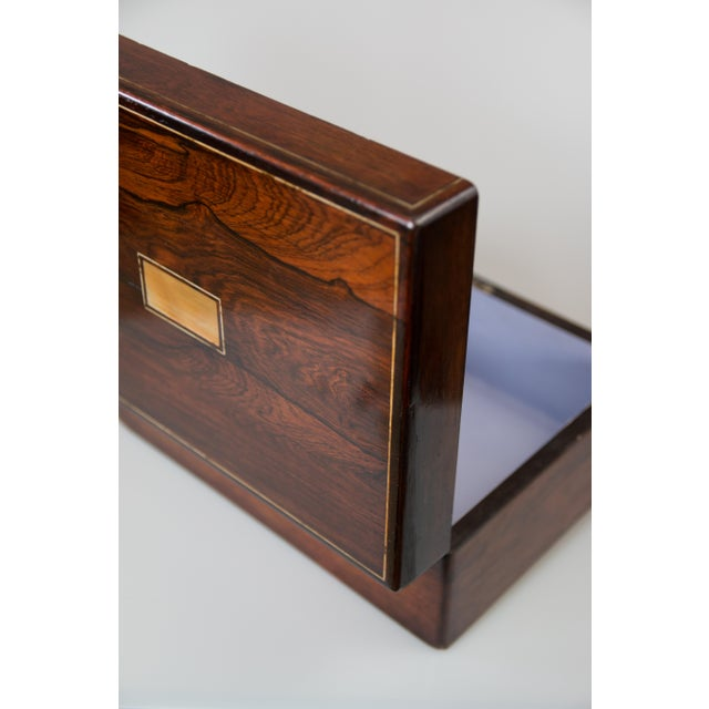 Brown 19th-Century English Rosewood Box, Lock & Key For Sale - Image 8 of 10