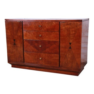 Henredon Art Deco Mahogany and Rosewood Bar Cart Buffet Server For Sale