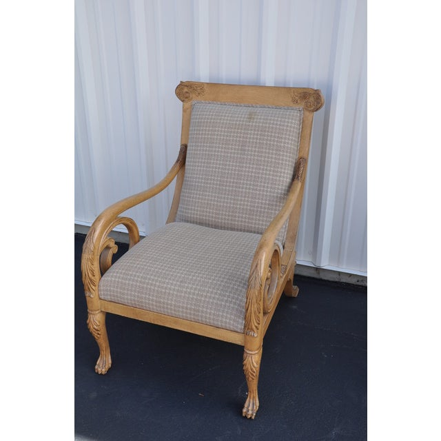 American Classical Trouvailles Hand-Carved Lounge Chair For Sale - Image 3 of 6