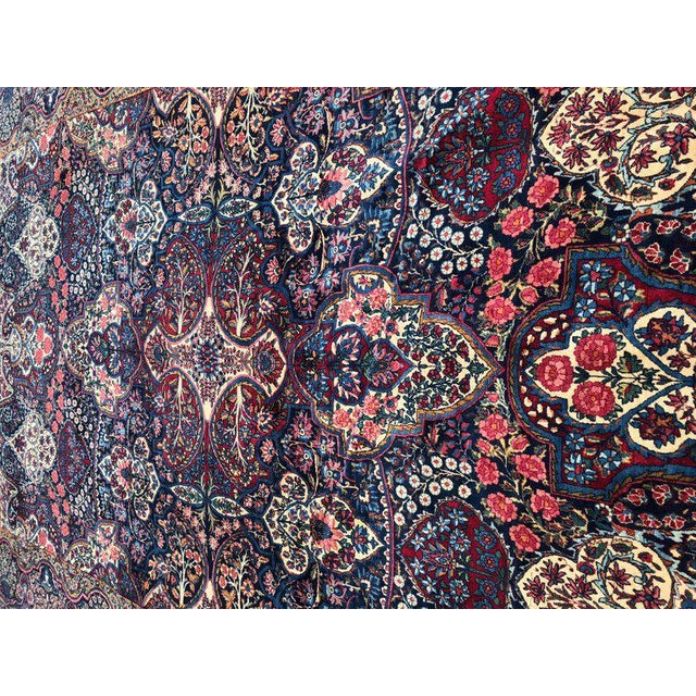 Blue Palatial Antique Persian Carpet With Red Border, Blues, Reds, Creams, Kermin For Sale - Image 8 of 13