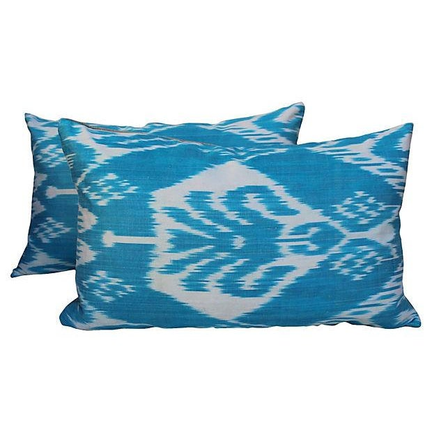 Silk Ikat Turquoise Pillows- A Pair For Sale