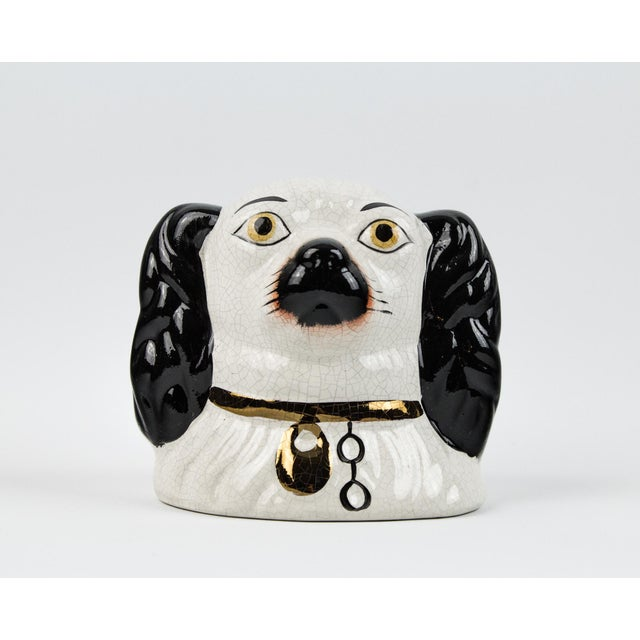 19th Century English Traditional Staffordshire Ceramic Dog Head Money Bank For Sale - Image 11 of 11