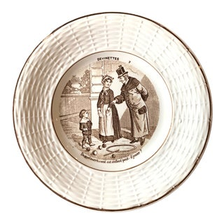 """Antique French Plates by Digoin & Sarreguemines """"Devinettes"""" - Set of 2 For Sale"""