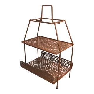 Mid 20th Century Wrought Iron Magazine Rack or Drink / Snack Caddy, Entertaining Stand For Sale