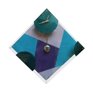 Postmodern Lucite Wall Clock For Sale