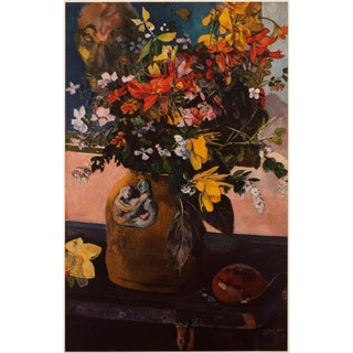 """1950s Impressionist Lithograph, """"Still Life With Flowers"""" by Paul Gauguin For Sale"""