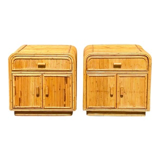 Vintage Boho Pencil Reed Nightstands - a Pair For Sale