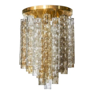 Mid-Century Modern Chandelier With Tinted Murano Pendants by Venini For Sale