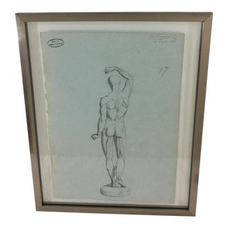 19th Century French Medical Drawing of Back of Male Figure For Sale